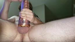 Lyra films as Mojo abuses his big cock with a Fleshlight