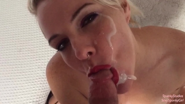 Fishnet Bodysuit Fuck, Suck and Huge Facial with Swallow