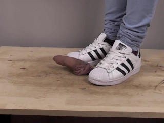 adidas superstar black white cock crush and shoejob