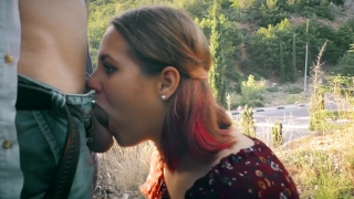 Public Blowjob at the busy Highway  amateur blowjob teacher of magic public blowjob outdoor outside blowjob cumshot public young real public sex swallow deepthroat road highway highway blowjob