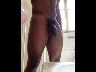 showing my hug dick in shower