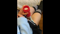 Cute crossdressing femboy shows you how he gets off