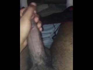 Black guy jerks off alone