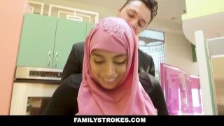 FamilyStrokes - Busty Chick Rides Fat Cock In Hijab Hardcore black