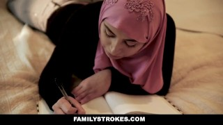 FamilyStrokes - Busty Chick Rides Fat Cock In Hijab Stepmom reality