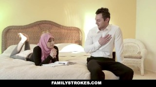 In busty fat familystrokes cock rides hijab chick reality boobs