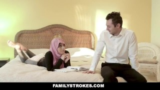 FamilyStrokes - Busty Chick Rides Fat Cock In Hijab Redhead hot