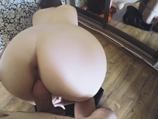 Schoolgirl with Big Ass Fucked and Creampied Doggystyle