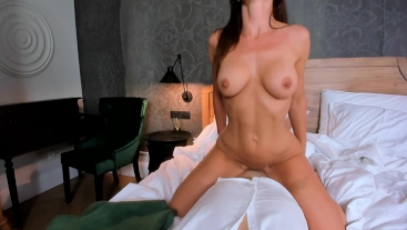 Hot slut strip for me and jumping on my big cock