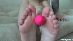 My first footjob with small toy