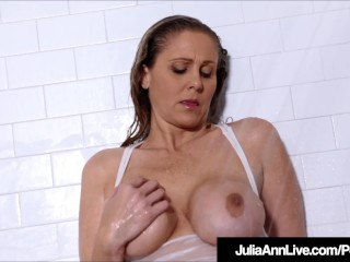 Horny Hot Milf Julia Ann Showers In Skin Tight Shirt!