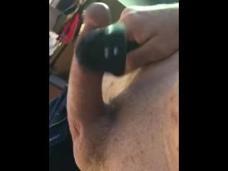 Vibrating cock and balls Cum Building Session