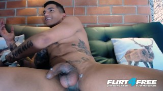 Thony King on Flirt4Free - Tatted Toned Latin Stud Tugs Big Cock Two Hands Anal play