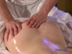 Massage Rooms Cute brunette has orgasmic creampie
