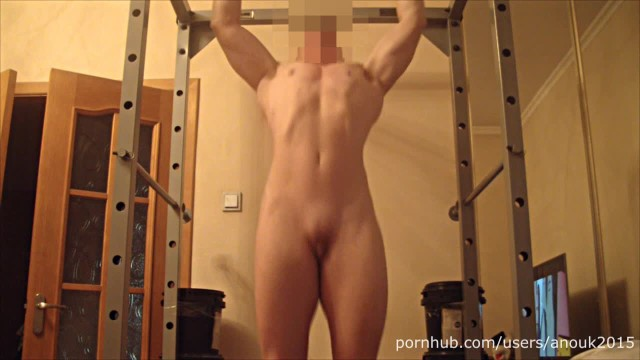 Pulled muscle in the breast - Naked pull up, posing, flexing, abs workout, masturbation muscle girl anouk