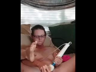Teen Whore hitachi orgasm and panty stuffing