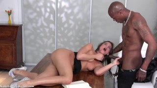 Black Little Caprice get fucked first time from a big Black Cock Macy boobs