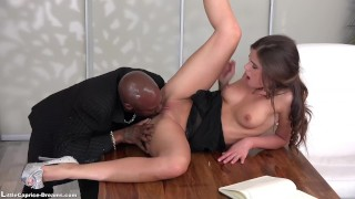 Black Little Caprice get fucked first time from a big Black Cock Big hole