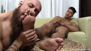 While slobbers asian feet jerks his homo ken freaky off ott ott asian