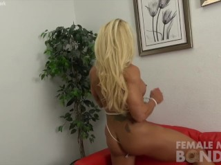 Naked Female Bodybuilder Struggles in Rope
