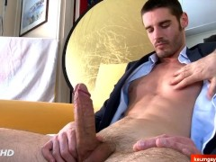 Straight salesman gets serviced his big cock in spite of him !
