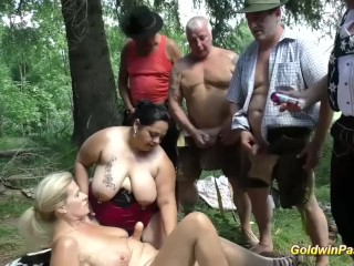 Free femdom porn tube german outdoor orgy with bbw girls wildgangbangs group chubby mom mothe