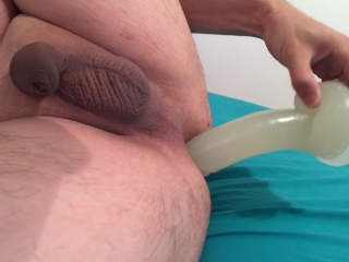 Young boy film with iPhone fucking rough a 8 inch dildo with ruined orgasms