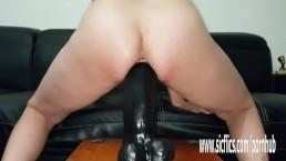 Sarah fucks colossal dildos till she cums hard