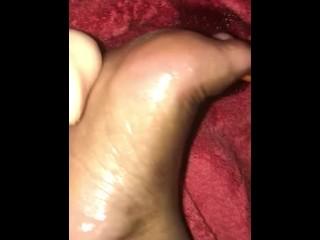 thick white cock rubbing black foot
