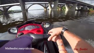 Public anal ride on the jet ski in the city centre. Mia Bandini Joi jerk