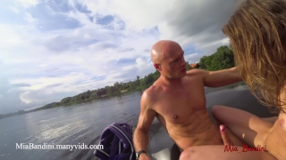 Public anal ride on the jet ski in the city centre. Mia Bandini Pussy wife
