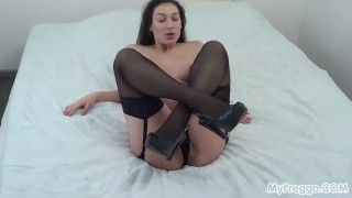 Pregnant Janetta's Sexy Striptease with Masturbating! Indian indian