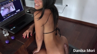 Let's go to the kitchen, it's more easy to clean! - Caught sitting on a toy Brunette teasing