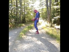 outdoor spiderman with exposed cock
