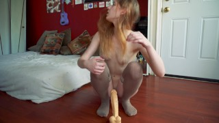 Too Tight for Teen Pussy  close up big ass masturbation riding teen painful redhead dildo pov big dick young petite rough orgasm teenager 12 inches