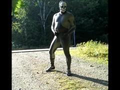 skeleton masked wetsuit on the road