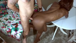 young ebony babe fucks and gets fucked till cumshot - interracial sex