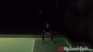 DRUNK GIRL FUCKED AFTER POOL PARTY TO WIN A BET - MYSWEETAPPLE Bangbros booty