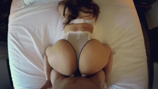 Young latina's big ass gets fucked doggystyle POV and begs for a creampie!!
