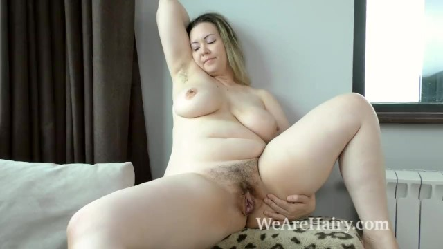 Hairy blond female Marsela has hot fun after cleaning and ironing