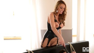 Brit Domina Stacey Saran fills her wet shaved pussy with submissive dick