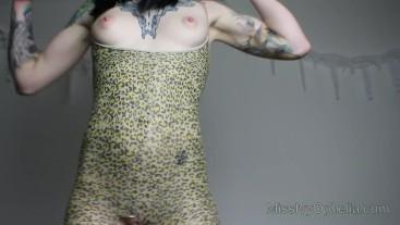 FEMDOM My Demanding Pussy - JOI Crotchless Leopard Bodysuit Nylon Worship