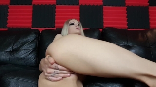 Kimber Veils uses large clear glass toy in her ass Big small