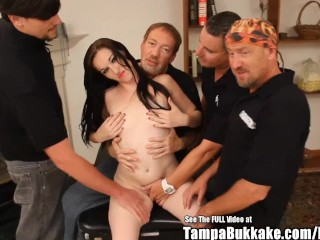 Picture of Hot Freckled Lactating Slut Bukkake Gangbang