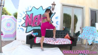 SWALLOWED Romi Rain tit fucked and throat fucked by a big cock