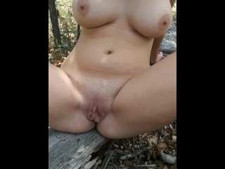 Sexy babe in the woods