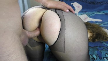 Young with big ass in black panyhose fucked