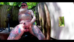 Inked Daddy Bear Playing in the Woods