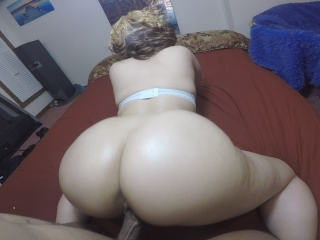 Blonde girl w/ bubble butt gives deep throat & get's fucked hard, sexy POV!