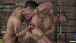 Young gay Koby Lewis bound and fucked hard by Mickey Taylor